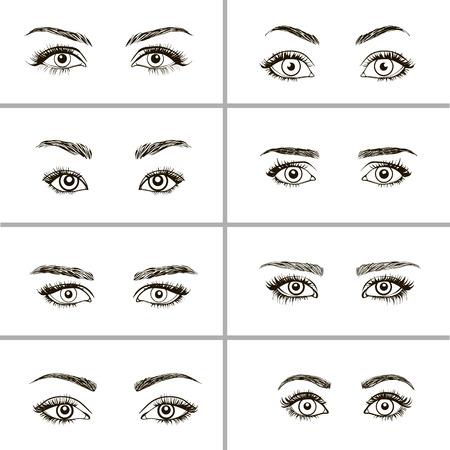 Illustration pour Set of eyes shapes.  Various types of woman eyes. - image libre de droit