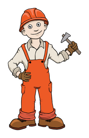 Cute Cartoon Construction worker repairman