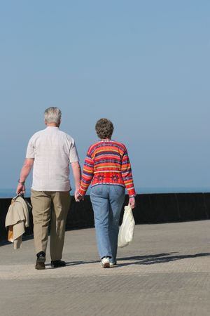 Rear view of an elderly couple walking together and holding hands along a seaside promenade. Set against a blue sky.