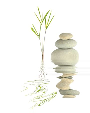 Zen garden abstract of bamboo leaf grass and grey spa pebbles in perfect balance with reflection over rippled  water, against white background.