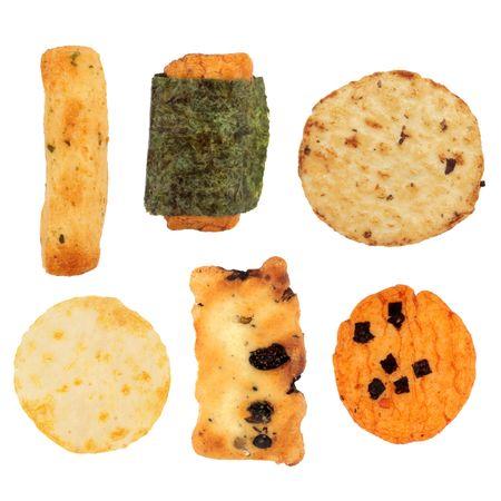Japanese rice cracker selection isolated over white background.