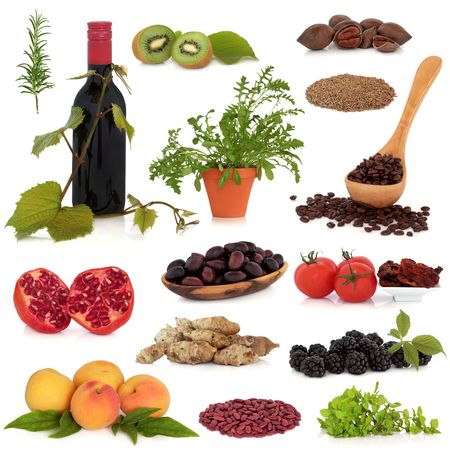 Super food collection, very high in antioxidants and vitamins, isolated over white background.