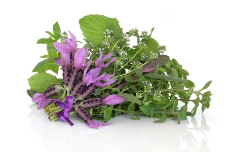 Lavender and thyme herb flowers with oregano, lemon balm  and green and purple sage leaves in a bunch isolated over white background, herbs used in alternative medicine.