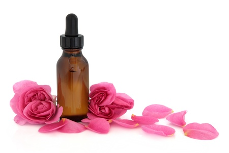 Rose flower petals and buds with aromatherapy essential oil glass bottle isolated over white background  Rosa rugosa