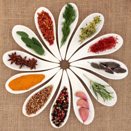 Spice and herb selection of garlic, sage, thyme,  fennel, rosemary leaf sprigs, saffron, turmeric, chili flakes,  peppercorns, star anise,and coriander seed in white porcelain dishes over hessian background
