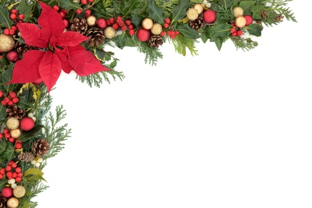 Christmas and winter floral border with poinsettia flower, decorations, natural holly, mistletoe and ivy,  over white background