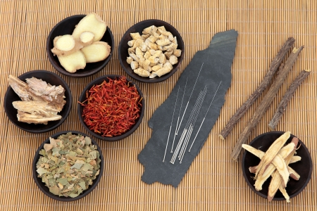 Acupuncture needles with chinese herbal medicine selection over bamboo
