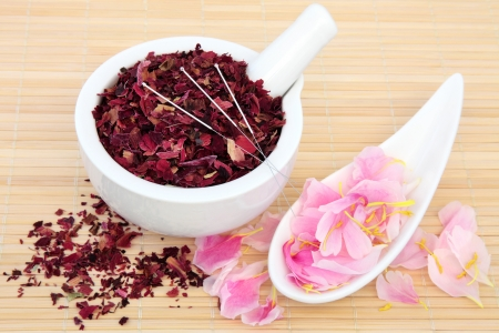 Chinese herbal medicine with acupuncture needles and fresh and dried peony flowers  Fuguihua