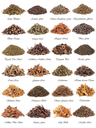 Chinese herbal medicine selection over white background with titles