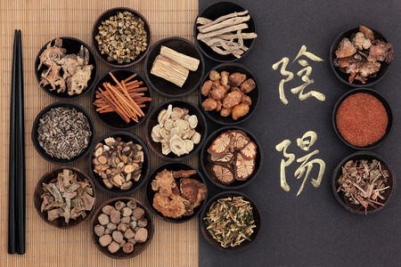 Photo pour Chinese herbal medicine with yin and yang calligraphy script over bamboo  Translation reads as yin yang  - image libre de droit