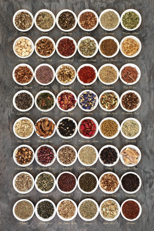 Large herb tea sampler in round china bowls forming an abstract background with titles. Teas used in natural alternative herbal medicine.