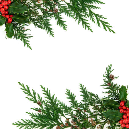 Photo pour Cedar cypress & holly berry border natural winter decoration on white background. Decorative design for Xmas  & New Year festive season. Flat lay, top view, copy space. - image libre de droit