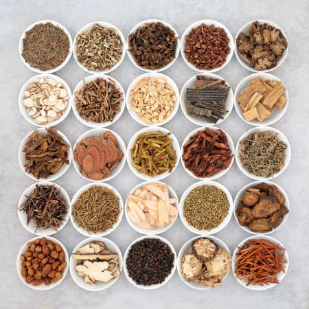 Photo pour Chinese herb collection used in traditional herbal medicine in porcelain bowls on mottled grey background. Alternative health care concept. Flat lay, top view. - image libre de droit