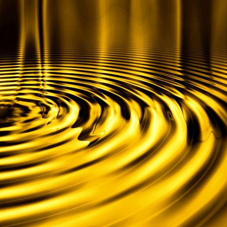 Shiny, smooth metallic liquid gold ripples background.