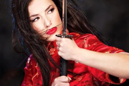 beautiful female katana warrior