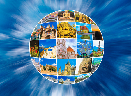 World Monuments Collage - from different religions from Bali, Thailand at Asia and Florens, Spain in Europe