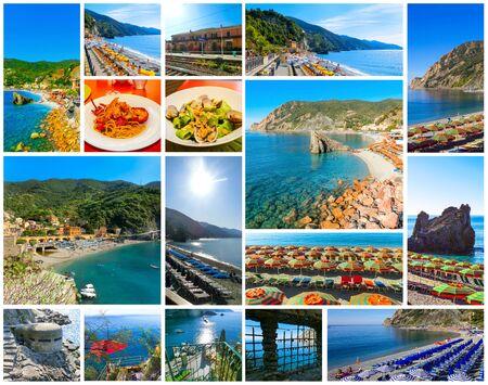 Photo pour Panorama of Monterosso al Mare Beach, in summer season, a coastal village and resort in Cinque Terre, Liguria, Italy. - image libre de droit