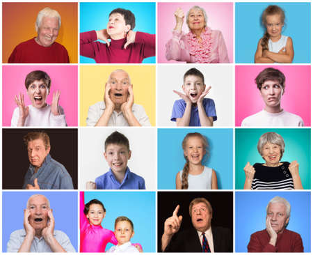 Photo pour Diverse people with different emotions. Collage of diverse multi-ethnic and mixed age range people expressing different emotions - image libre de droit