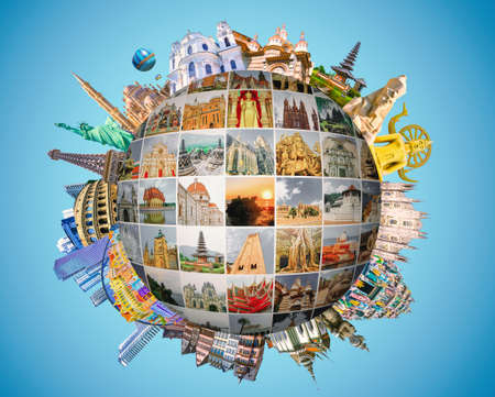 Foto de World religious and architecture monuments - collage or globe from different religions from Bali, Thailand, Cambodia at Asia and Florens, Spain, Santorini, Venice in Europe. - Imagen libre de derechos