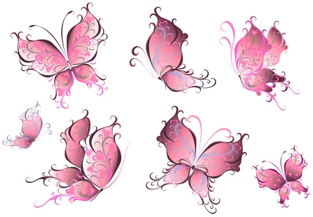 Illustration pour Set of pink butterflies isolated on a white background - image libre de droit