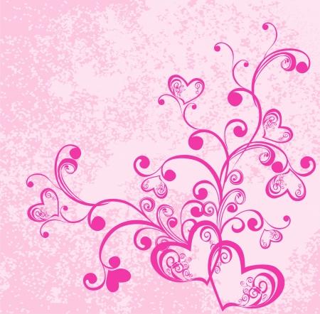 Ilustración de Valentine s day vector background with hearts  Decorative branch with hearts - Imagen libre de derechos