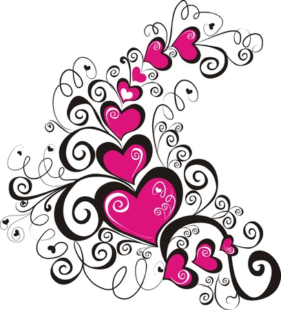 Decorative hearts, element for design