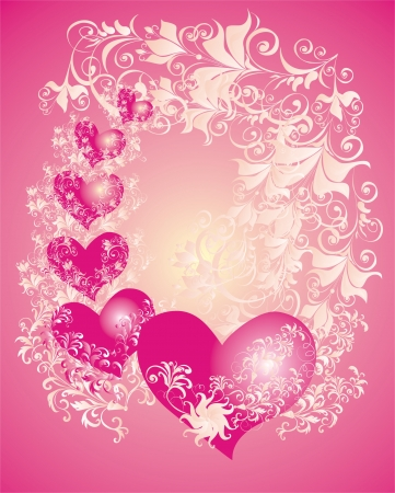 Vector valentines background with two hearts and floral ornament