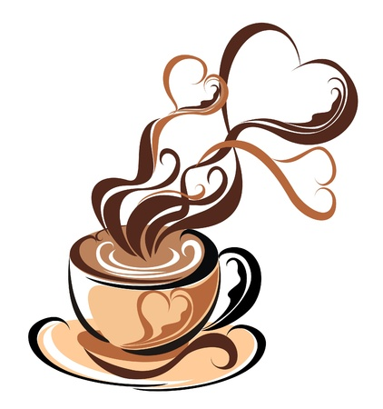 Illustration pour Love coffee  Coffee with steam form of hearts - image libre de droit