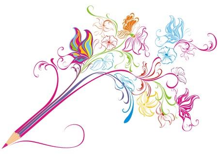 Illustration pour Creative floral pencil  Art concept, illustration - image libre de droit