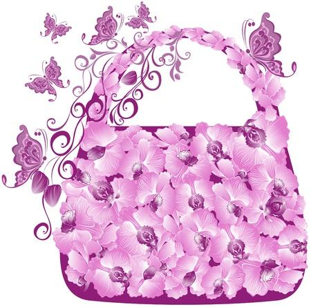 Illustration pour Floral shopping bag with orchids and butterflies - image libre de droit