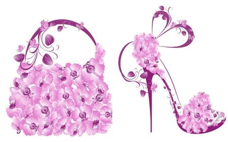 Illustration pour Beautiful female shoes and bags  - image libre de droit
