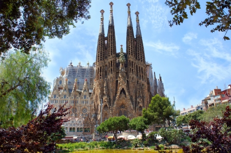 La Sagrada Familia in Barcelona, designed by Antoni Gaudi