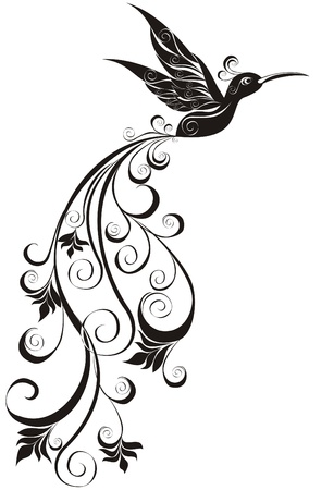 Vector tattoo hummingbird