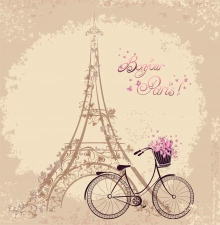 Foto de Bonjour Paris text with tower eiffel and bicycle. Romantic postcard from Paris. Vector illustration. - Imagen libre de derechos
