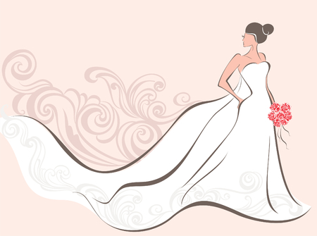 Illustration pour Vector illustration of a beautiful bride  - image libre de droit