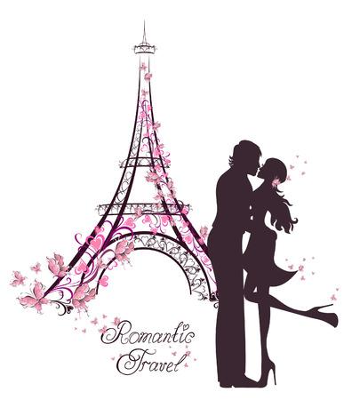 Illustration pour Honeymoon and Romantic Travel. Happy young lovers couple kissing in front of Eiffel Tower, Paris, France. - image libre de droit