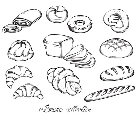 Illustration pour Hand drawn sketch set of breads and buns in line art. Vector illustration of bakery collection in black and white. - image libre de droit
