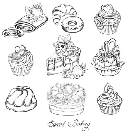 Collection Hand drawn of various beautiful Cakes and Cupcakes. Sketch Vector illustration.
