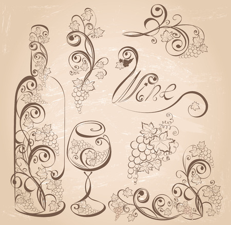 Vector wine design elements. Wine bottle and wineglass with grapevines on vintage grunge background .