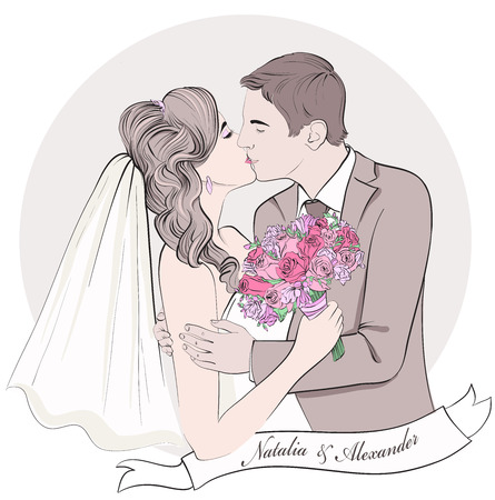 Illustration pour Wedding couple kiss, bride and groom. Hand drawn vector illustration. - image libre de droit