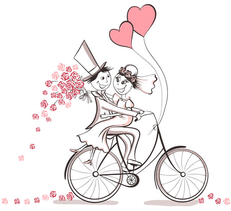 Foto de Just married. Hand drawn wedding couple in love on bicycle. Cute cartoon vector illustration - Imagen libre de derechos