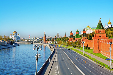 View on Moscow river and Moscow Kremlin in Moscow, Russia