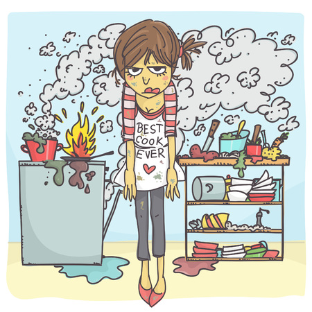 Illustrazione per Funny vector cartoon of angry and stressed woman in messy kitchen - Immagini Royalty Free