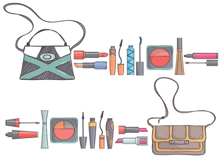 Two sets of handbags and makeup collections on white background. Collection of bags and beauty cosmetics products.