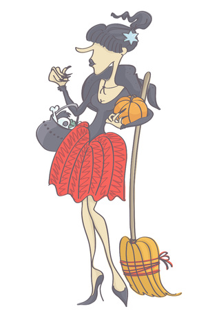 Funny, cute witch with black hair ponytail holding pumpkin, broom and pot. Vector drawing of woman dressed as witch.