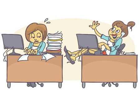 Illustration pour Female coworkers in office, one is working hard and has lot of work, other is lazy, talking on the phone and painting her nails. Vector cartoon of bad coworker situation at job. Bad behavior at work. - image libre de droit