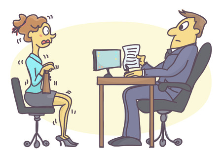 Illustration pour Young woman numbed with fear at job interview. Funny vector cartoon with intern girl scared of talking to personnel manager. - image libre de droit