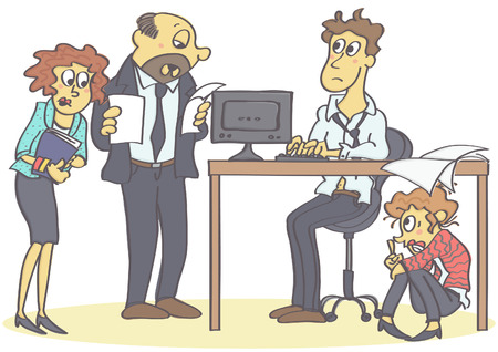 Woman hiding under office table of man coworker and lover, funny cartoon illustration forbidden love at work