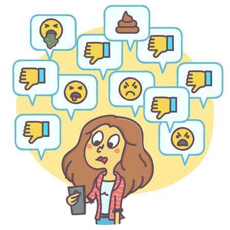 Illustration pour Cartoon illustration of woman looking at dislikes and negative comments on social network, funny vector drawing - image libre de droit