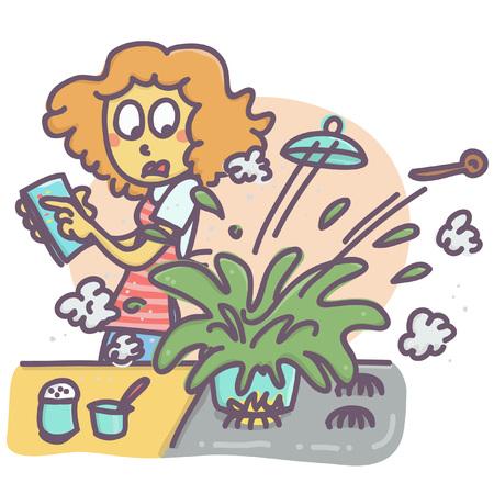 Illustrazione per Funny vector cartoon of woman in kitchen and exploding pot - Immagini Royalty Free